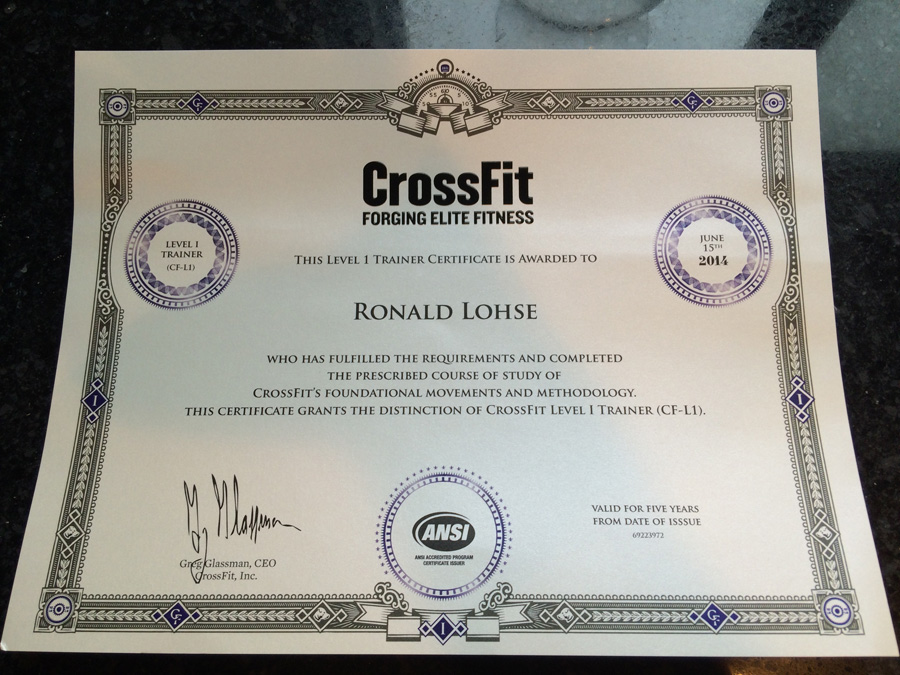 Ron Lohse CrossFit Certified Trainer